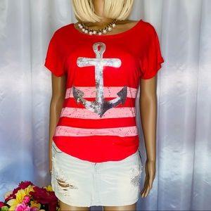 Striped sequins anchor shirt